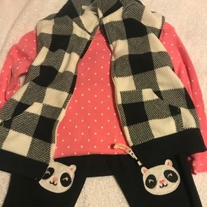 Carters pink and black set with vest